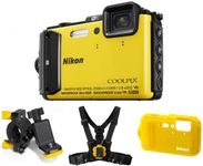 Aparat Foto Digital NIKON COOLPIX AW130 Outdoor Kit (Galben), Filmare Full HD, 16MP, Zoom Optic 5x, GPS, Wi-Fi, NFC, Rezistent la apa, socuri, praf si frig