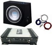 Pachet Subwoofer + Amplificator, Bass-Reflex, 30 cm, 250W RMS, 2 canale, 150W RMS max