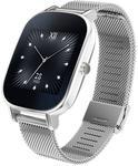 "Smartwatch Asus ZenWatch 2 WI502Q, Procesor Quad-Core 1.2GHz, Amoled Curbat 1.45"", 512MB RAM, 4GB Flash, Bluetooth, Bratara Metalica, Rezistent la apa si praf (Argintiu)"