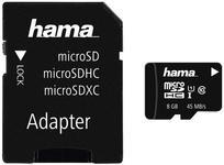 Card de memorie Hama Memory Plus microSDHC, 8GB, Clasa 10, UHS-I, pana la 45 MB/s + Adaptor SD