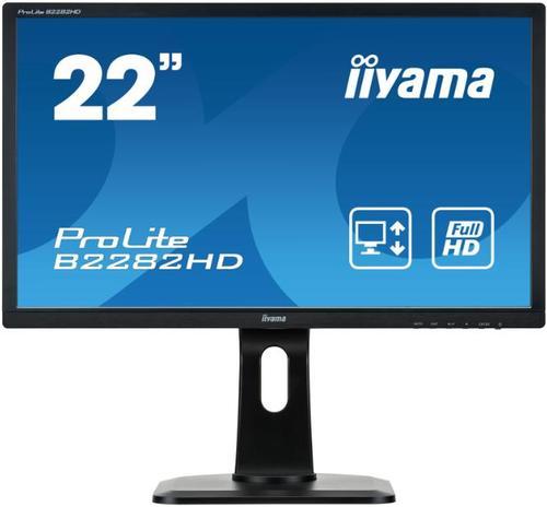 Monitor TN LED iiyama 21.5inch B2282HD, Full HD (1920 x 1080), DVI, VGA, 5 ms, Pivot (Negru)