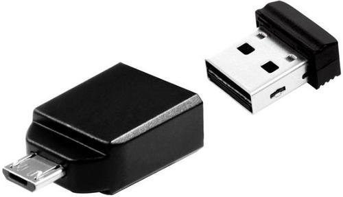 stick usb verbatim nano + adaptor otg microusb, 8gb, usb 2.0 (negru)