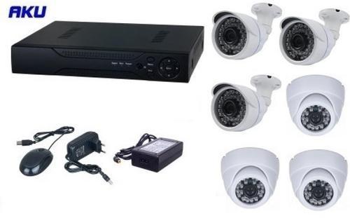 Kit Supraveghere Video Aku Ak9212F, 6 camere interior/exterior, 1200TVL, DVR 8 canale, Compresie H264