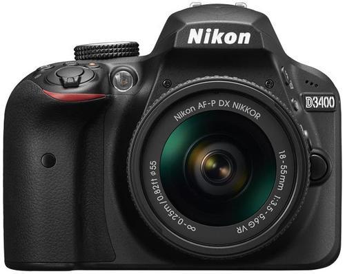 Aparat Foto D-SLR NIKON D3400, Obiectiv 18-55mm VR, Filmare Full HD, 24.2 MP (Negru)