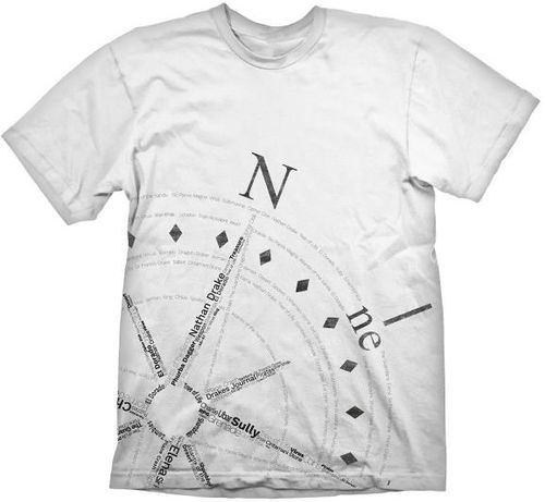 Tricou Uncharted 4 Compass, marime XL (Alb)