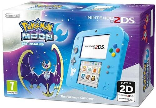consola nintendo 2ds + pokemon moon limited (albastru)
