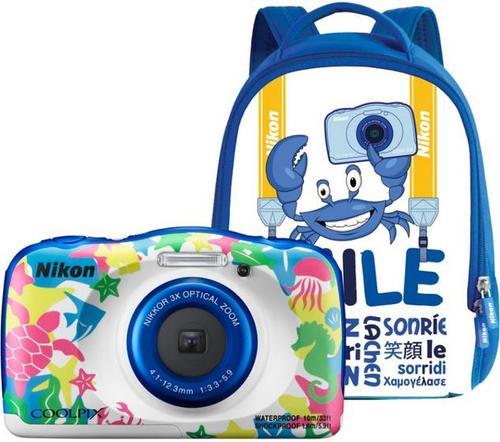 Aparat Foto Digital NIKON Coolpix W100, 13.2MP, Zoom Optic 3x, Wi-Fi (Marine) + Rucsac