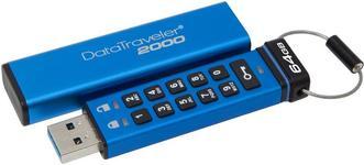 Stick USB Kingston Data Traveler 2000, 64GB, USB 3.1, securizat (Albastru)