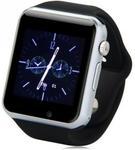"Smartwatch iUni A100i, Capacitive touchscreen 1.54"", 0.3MP, Bluetooth, Bratara silicon, 2G, Functie telefon (Negru)"
