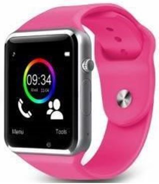 Smartwatch Cronos A1, TFT LCD Capacitive touchscreen 1.54inch, 2G, Bluetooth (Argintiu/Roz)