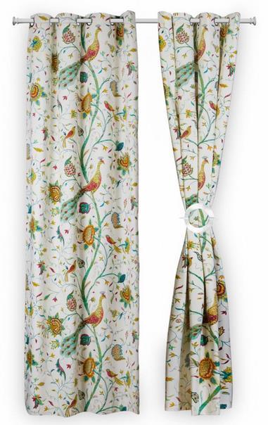 Set doua draperii Heinner HR-DR140-PAUN, 140 x 270 cm, Bumbac, model Pauni (Multicolora)