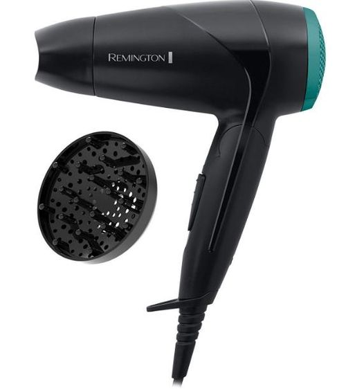 Uscator de par compact Remington On The Go D1500, 2000 W, 2 setari (Negru/Verde)