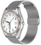 "Smartwatch iUni N3 Plus, 1.3"", Bratara metalica (Alb)"