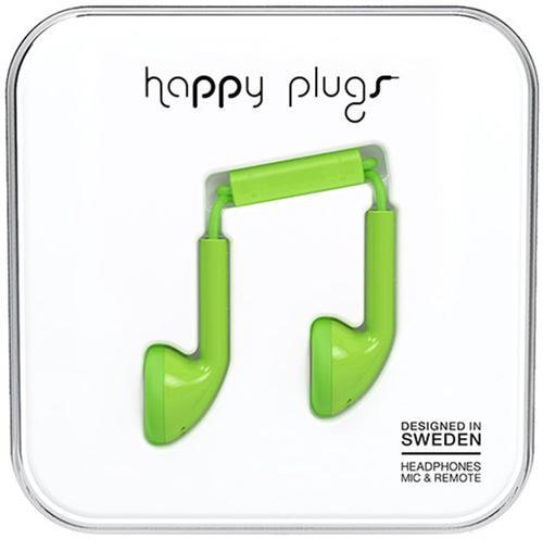 casti stereo happy plugs 7713, microfon (verde)