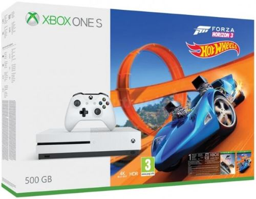 consola microsoft xbox one s 500gb + forza horizon 3 + hot wheels