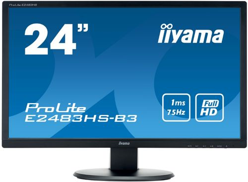 Monitor Gaming TN LED Iiyama 24inch E2483HS-B3, Full HD (1920 x 1080), VGA, HDMI, DisplayPort, Boxe, 75 Hz, 1 ms (Negru)