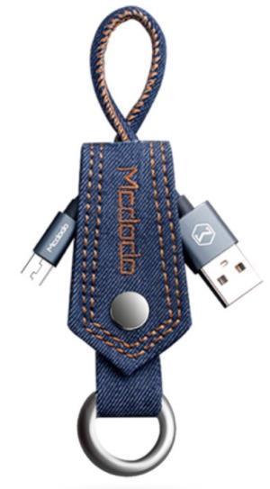 Cablu de date Mcdodo Denim Key-Chain, MicroUSB, 0.15m, 2A (Albastru)