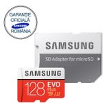 Card de memorie Samsung EVO Plus MB-MC128GA/EU, micro SDHC UHS-I 128GB (Clasa 10), 95MB/s, Waterproof + Adaptor SD