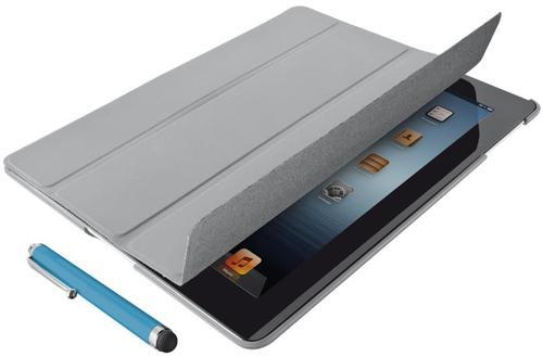 Husa Stand Trust Smart Case cu Stylus pentru iPad 2, iPad 3, iPad 4 (Gri)