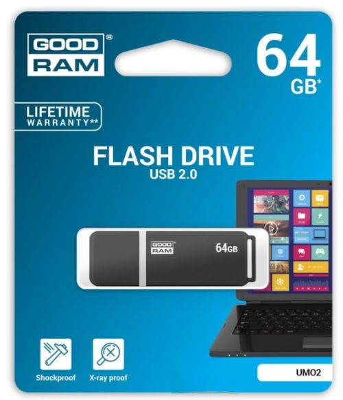 stick usb goodram umo2, 64gb, usb 2.0 (negru)