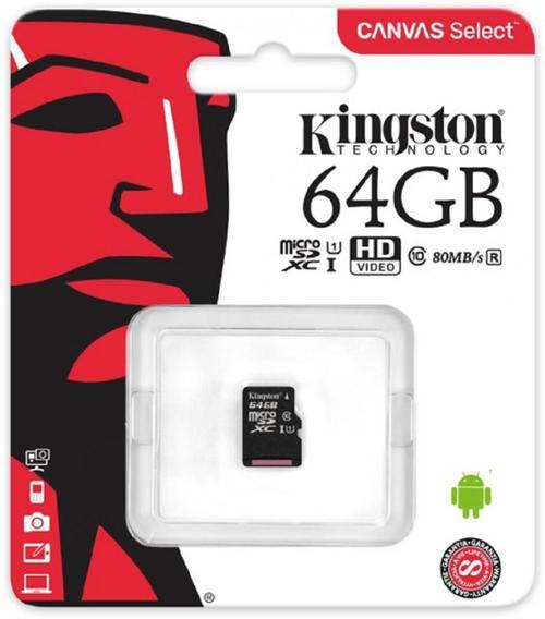 Card de memorie Kingston Canvas Select microSDXC, 64 GB, 80 MB/s Citire, 10 MB/s Scriere, Clasa 10 UHS-I