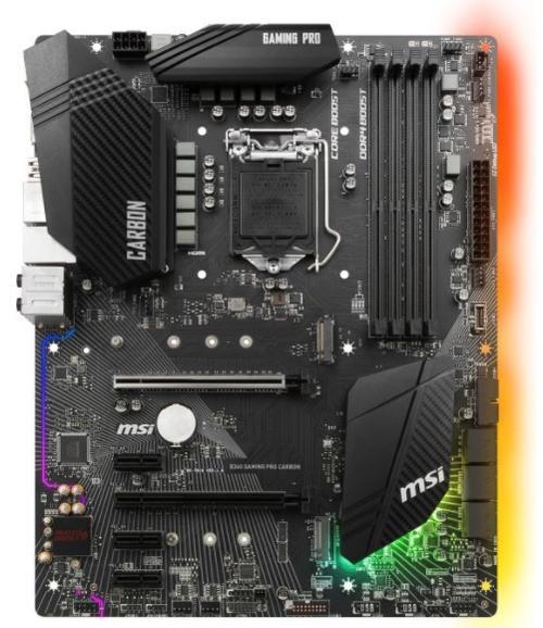 placa de baza msi b360 gaming pro carbon, intel b360, lga 1151