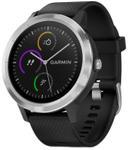 Ceas activity tracker Garmin Vivoactive 3, GPS, Bluetooth, Rezistenta la apa, Curea silicon (Negru/Argintiu)