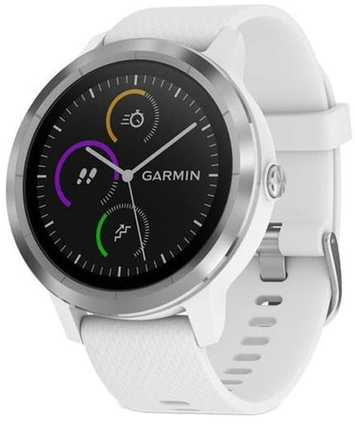 Ceas activity tracker Garmin Vivoactive 3, GPS, Bluetooth, Rezistenta la apa, Curea silicon (Alb/Argintiu)