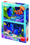 Puzzle 2 in 1 Dino Toys, Gasirea lui Dory, 2 x 77 piese