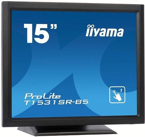 Monitor TN LED iiyama 15inch T1531SR-B5, 1024 x 768, VGA, HDMI, DisplayPort, Touchscreen, Boxe, 8 ms (Negru)