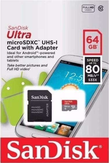 Card de memorie SanDisk Ultra microSDXC, SDSQUNS-064G-GN3MA, 64GB, Clasa10, UHS-I + Adaptor SD