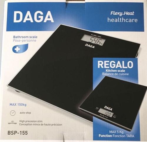 Cantare electronice Daga BSP-155 Regalo, Cantar baie 150 Kg + cantar bucatarie 5 Kg (Negru)