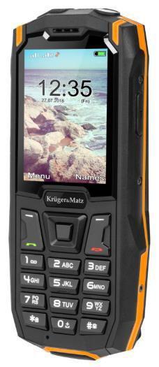 Telefon Mobil Kruger&Matz Iron 2S, Ecran 2.4inch, 64MB RAM, 128MB Flash, 2MP, Wi-Fi, 3G, Dual Sim (Negru/Portocaliu)