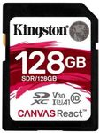 Card de memorie Kingston Canvas React, SDXC, 128 GB, 100 MB/s Citire, 80 MB/s Scriere, Clasa 10 UHS-I