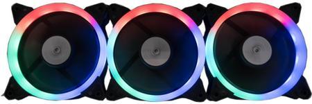 Set 3 ventilatoare Floston Aurora, 120mm, 1725 rpm, PWM (LED RGB)