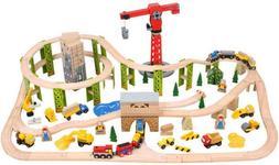 Circuit auto si feroviar - Santierul BigJigs, 116 piese
