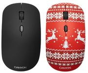 Mouse Wireless Optic Canyon CND-CMSW400JR, 1600 DPI, USB (Negru/Rosu)