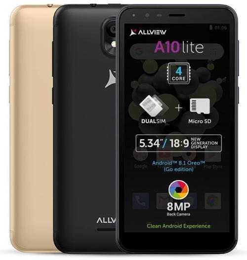 Telefon mobil Allview A10 Lite, Procesor Quad-Core 1.3 GHz, LCD Capacitive touchscreen 5.34inch, 2GB RAM, 16GB FLASH, 8MP, Wi-Fi, 3G, Dual Sim, Android (Negru)