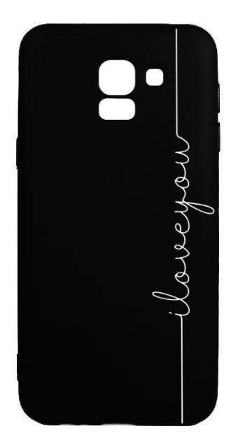 Protectie Spate Lemontti Black Silky Art iLove You LMBSAJ618M04 pentru Samsung Galaxy J6 2018 (Negru/Alb)