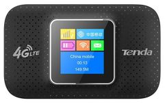 Router Wireless Tenda 4G185, 4G/3G, Portabil, 150 Mbps, Display OLED, Baterie 2100mAh (Negru)