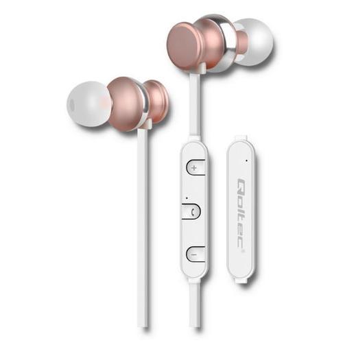 Casti wireless Qoltec 50823, Microfon (Alb/Auriu)