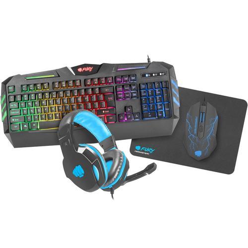 Kit Gaming 4 in 1 Fury Thunderstreak 2.0, tastatura + casti + mouse + mousepad