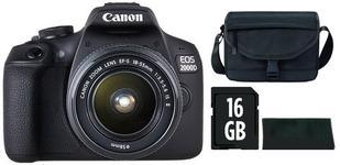 "Aparat Foto D-SLR Canon EOS 2000D + EF-S 18-55mm IS II, 24.1 MP, Ecran 3"" LCD, Filmare Full HD + Geanta Canon + Laveta + Card 16GB SD (Negru)"