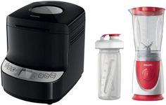 Pachet Masina de paine Philips Viva Collection HD9046/90, 1000 g, 14 programe (Negru) + Mini blender Philips Daily Collection HR2872/00, 350 W, 0.6 L, 1 Viteza (Rosu/Alb)