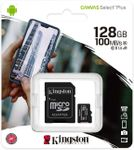 Card de memorie MicroSD Kingston Canvas Select Plus, 128GB, UHS-I, Class 10 + Adaptor SD