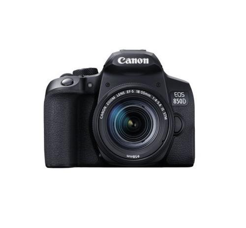 Aparat Foto D-SLR Canon EOS 850D, 24.1 MP CMOS, Ecran TFT 3inch, 4K, Wi-Fi, Bluetooth + Obiectiv EF-S 18-55mm F/3.5-5.6 IS STM (Negru)