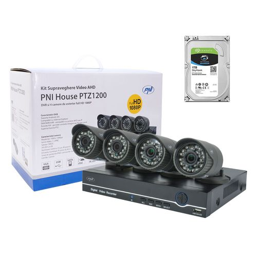 Kit supraveghere video PNI House PTZ1200 Full HD, DVR 4 canale + 4 camere de exterior + HDD 1Tb imagine