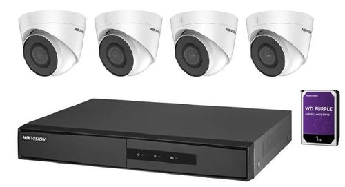 Kit supraveghere video Hikvision IP NK42E2H-1T(WD), 2MP, 4 x camere IP DS-2CD1323G0E-I, 1 x NVR DS-7104NI-Q1/4P/M, 1 x HDD 1TB Western Digital (preinstalat)