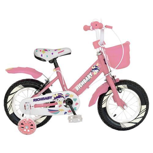Bicicleta Copii Rich Baby R1408A, roti 14inch, frana C-Brake, cosulet, roti ajutatoare cu LED (Roz/Alb)