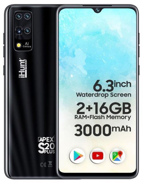 Telefon mobil iHunt S20 Plus Apex 2021, 6.3inch Waterdrop IPS, 16GB Flash, 2GB RAM, DualSIM, Android 9, 3000mAh, Camera 8MP (Negru)